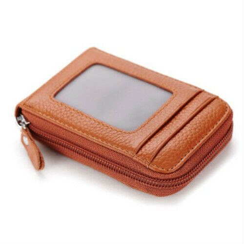 New Men Leather Wallet Zipper Credit Card Holder Rfid Blocking Unisex Pocket Bag