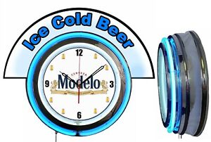 """Stroh/'s Beer w// Ice Cold Beer Marquee 19/"""" Yellow Neon Clock Mancave"""