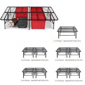 Metal Storage Bed Frame Platform Mattress Foundation Twin/Full/Queen/King & Cal