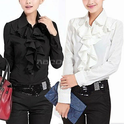 Fashion Womens Ladies Long Sleeve Frill Ruffle Collar Tops Blouse Shirt S M L
