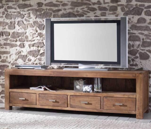 Tv Board Lowboard Guru 6647 Longboard Von Wolf Mobel Massivholz Akazie Stone Gunstig Kaufen Ebay