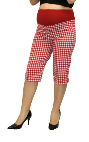 Plad Red Maternity Capri Pregnancy Bottoms Pants Cropped Confy Elastic S M