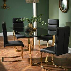 Rectangular Smoked Glass Dining Table With Gold Legs And 6 Black Chairs 180cm Ebay