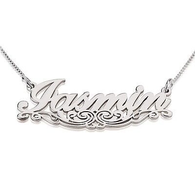 Unique Lines Name Necklace - Sterling Silver Personalized Any Name Necklace