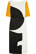 ROKSANDA ILINCIC $675 Brandt Geometric Paneled Crepe Gazar Wool Cutout Dress 8/4