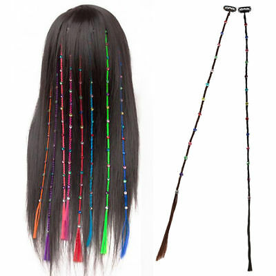 Crystal Diamonds Long Braids Synthetic Clip In On Hair Bands Extensions Piece