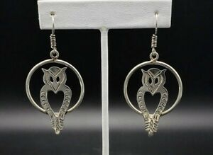 Vintage-Taxco-Large-Owl-Dangle-Earrings-Solid-Sterling-Silver