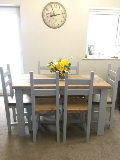 Shabby Chic Rustic Farmhouse Dining Table And 6 Chairs