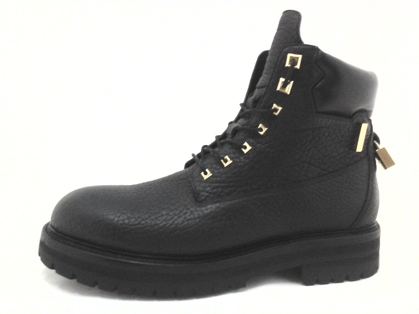 botas de combate BUSCEMI Negro W oro Italia hecha de Diseñador para Hombre US 13 +