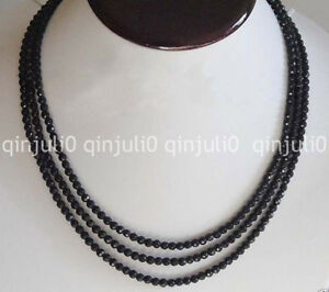 4mm-FACETED-GENUINE-TOP-NATURAL-STRAND-BLACK-ONYX-BEADS-NECKLACE-58-034-JN1334
