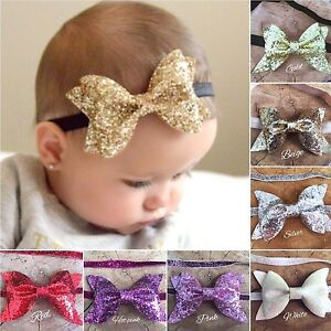 Image is loading Baby-Girl-Glitter-Sparkle-Bow-Headband-Hairband-Christening - 0c6b2a6cbbe