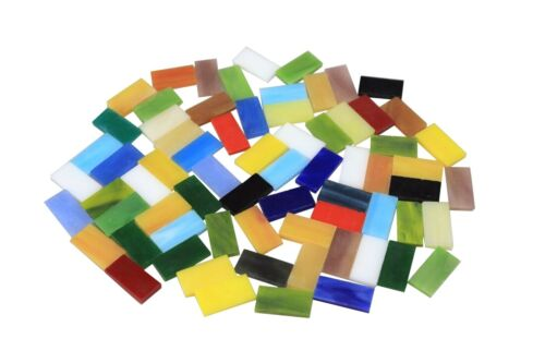 Rectangle Stained Glass Mosaic Tiles 10x20mm DIY Crafting Mica Glass Mosaic 70pc