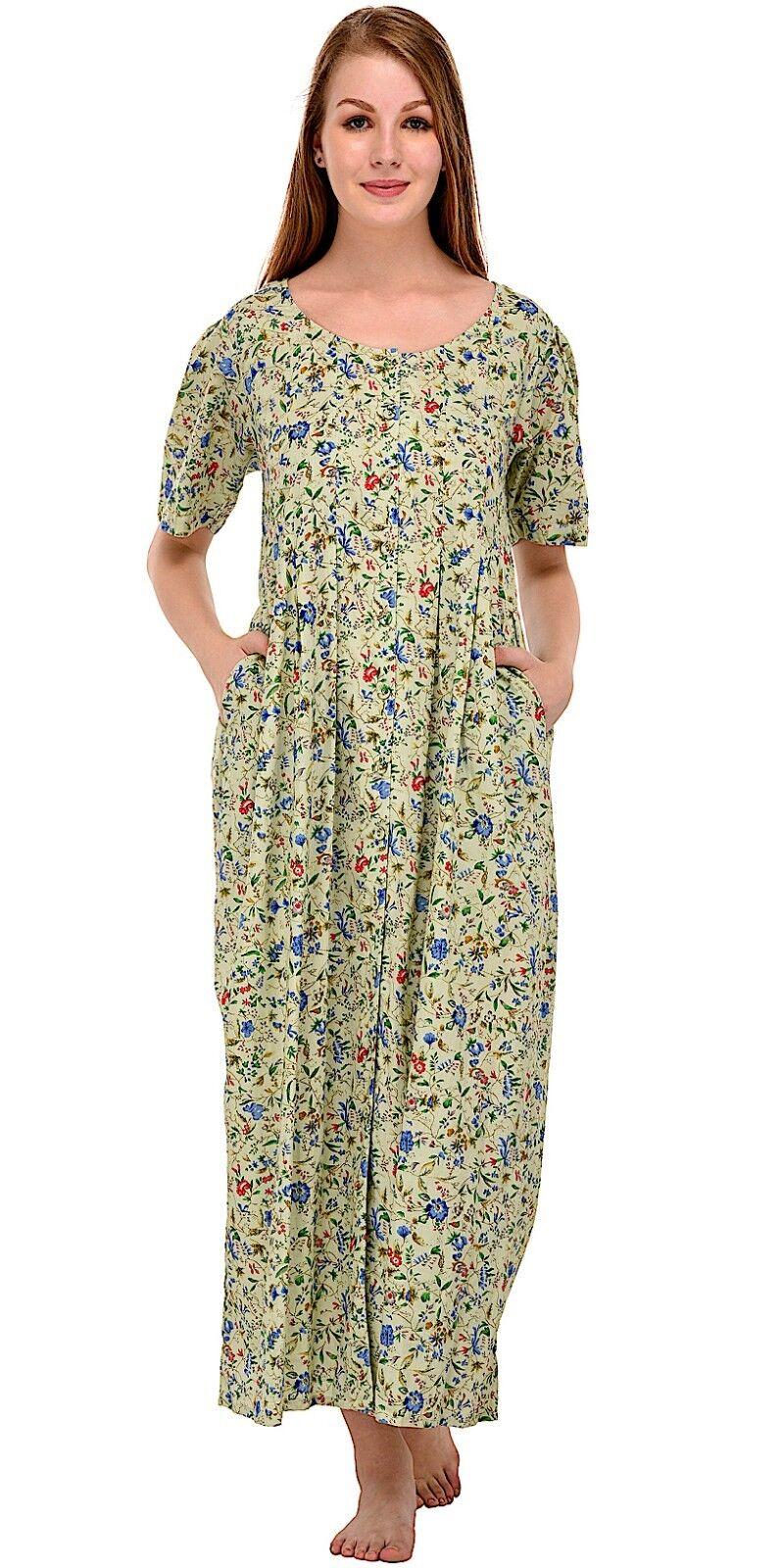 Cotton Lane Wrinkle-resistant Printed Dress D48 Apple
