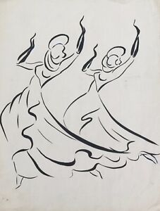 Lucienne-Pageot-Rousseaux-Drawing-Original-Ink-Dancer-8