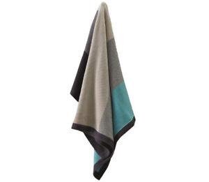 Jiggle-amp-Giggle-Cotton-Wide-Stripe-Blanket-Aqua-amp-Grey-Baby-Cot-Pram-Blanket