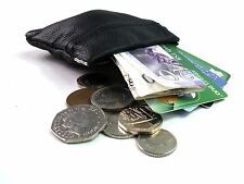 BLACK GENIUNE LEATHER SNAP TOP COIN POUCH PURSE WALLET CREDIT CARD HOLDER CASH