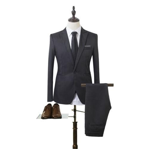 US Men Tuxedos Jacket Pants Slim Fit Business Formal Groom Wedding Blazer Suit