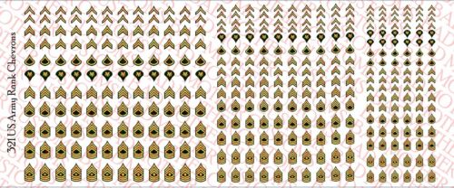US Army Rank chevrons-Waterslide Decals 1//18 Scale Decals