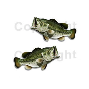 Largemouth Bass Sticker Decal Fishing Boat Car Truck Camper Trailer F033 2 Pack