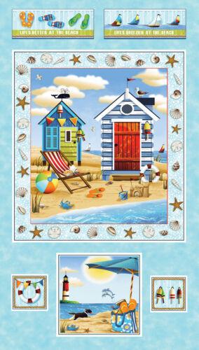 "Beach Ocean Sea Lightouse Sea Shell Fabric Forever By Sea #24739 24/"" Panel"