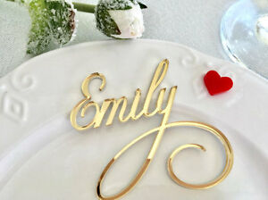 Image Is Loading Laser Cut Names Wedding Sign Gold Mirror Personalized