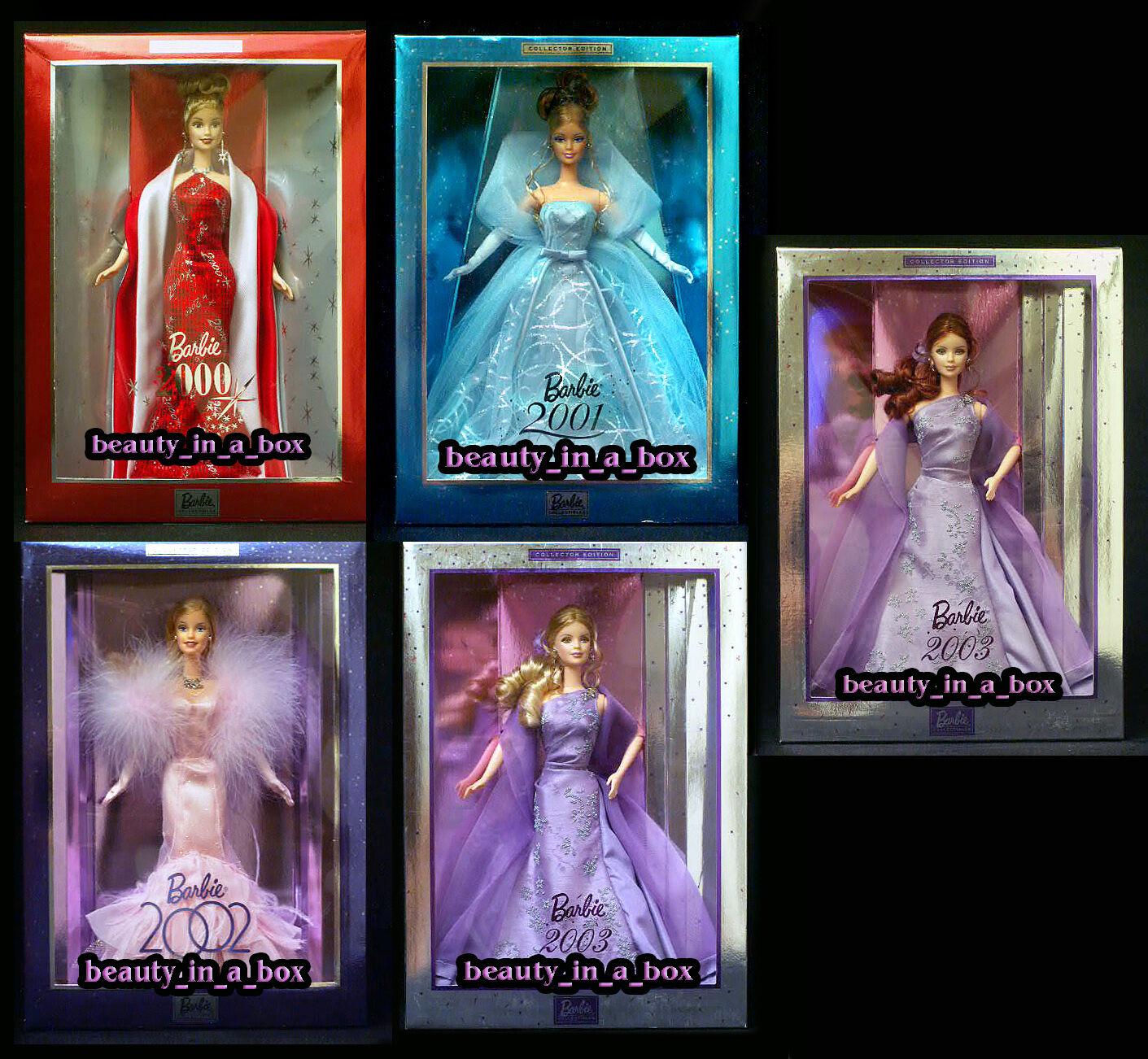 Edición coleccionista 2003 Muñeca Barbie Pelirroja Lavanda 2001 2002 Lote de vacaciones 5 en muy buena condición