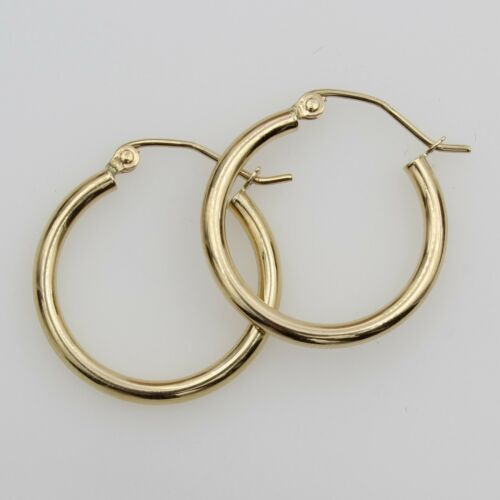 14K Real Yellow Gold 2mm Thick Classic High Polished Hinged Small Hoop Earrings