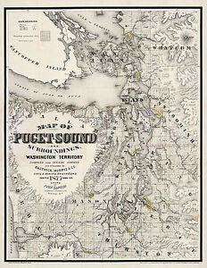1877-Map-Of-Puget-Sound-And-Surroundings-Washington-Territory-Wall-Poster-Art