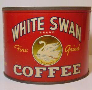 Vintage-1930s-WHITE-SWAN-COFFEE-GRAPHIC-KEYWIND-COFFEE-TIN-1-POUND-DALLAS-TEXAS