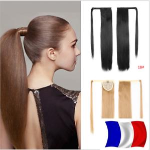 Queue-de-Cheval-Postiche-Extension-de-Cheveux-Lisse-Wrap-Around-Ponytail-Clip