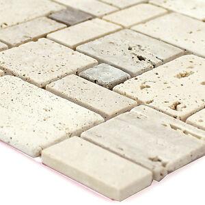 Das Bild Wird Geladen Travertin Naturstein Mosaik Fliesen Beige  Selbstklebend Bad Borduere