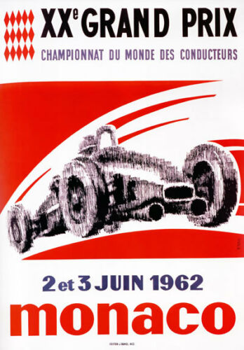 AV90 Vintage 1962 20th Monaco Grand Prix Motor Racing Poster Art Re-print A4