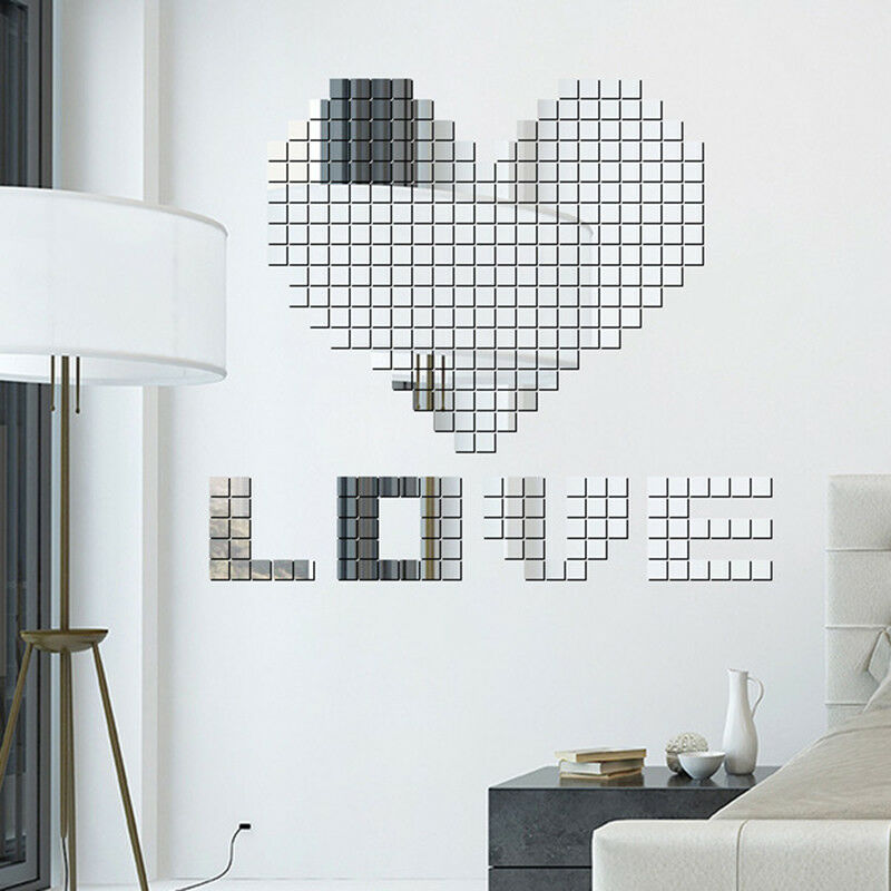 Mirror Tile Wall Sticker Square Self-Adhesive Room Bathroom Decor Stick On Decal