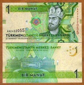 TURKMENISTAN 1 MANAT 2009 P 22 AA PREFIX UNC