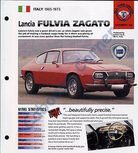 LANCIA FULVIA ZAGATO SPEC SHEET Sport Brochure 1970,1971,1972,1973,......
