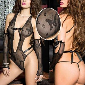 3c6045736ef Black V Neck Top Lingerie Butterfly Monokini Open Back Thong Teddy ...