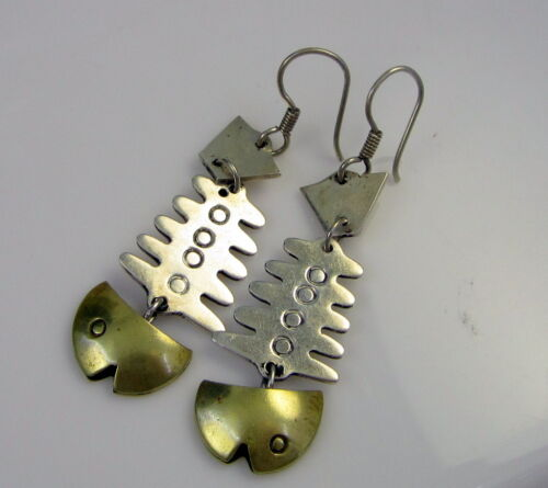 Vintage Lovely Sterling Silver Brass Fish Skeleton