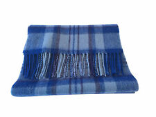 Scottish 100% Lambswool Sky Blue Check Tartan Scarf Brand New With Tags