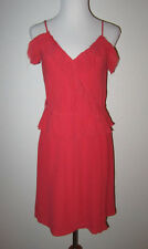 ANTIK BATIK CORAL SILK RUFFLE FAUX WRAP SUMMERY DRESS L 42