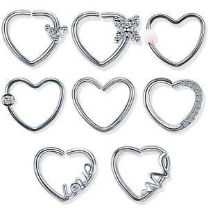 Heart Daith Piercing Multi Gem Design Cartilage Snug Rook Tragus Helix Ring Bar