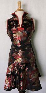 Sleeveless-Modern-Chinese-Cheongsam-Qipao-Summer-Fashion-Dress-with-Gold-Flowers