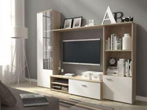 Living-room-furniture-set-display-tv-unit-shelf-glass-cabinet-sonoma-white-front