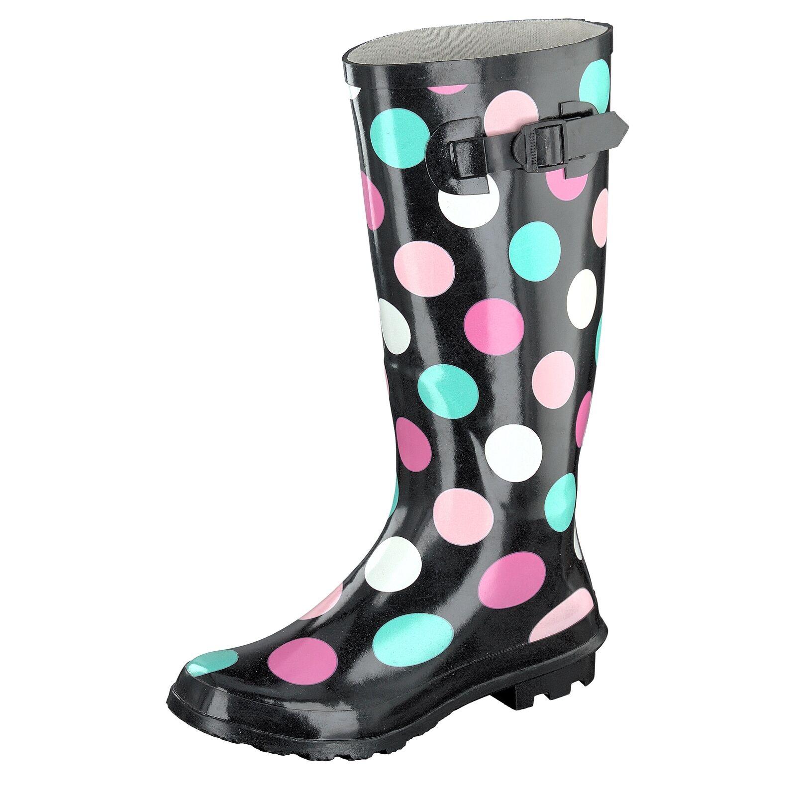 Gosch Gosch Gosch zapatos Sylt Mujer botas De Agua caña alta 7108-501-9 Negro Lunares  nuevo listado