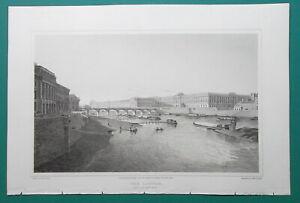 PARIS-Louvre-Palace-from-Bridge-Pont-Neuf-1821-Cpt-Batty-Antique-Print