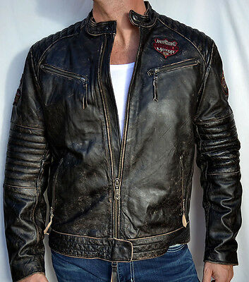 Affliction Black Premium - FULL MEASURE - Men's Leather Biker Jacket - 3XL XXXL