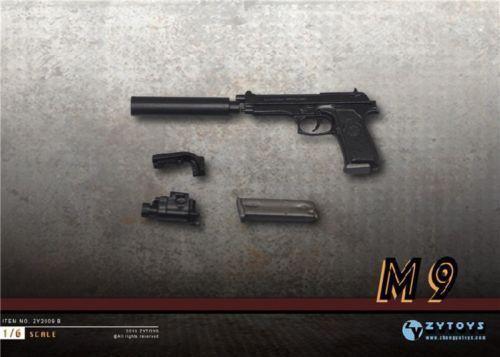 ZYTOYS 1//6 Black M9 Miniature Pistol Silencer Model Plastic Gun Toys