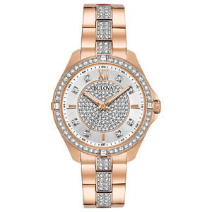 Bulova-Women-039-s-Crystal-Accents-Quartz-Rose-Gold-35mm-Watch-98L229