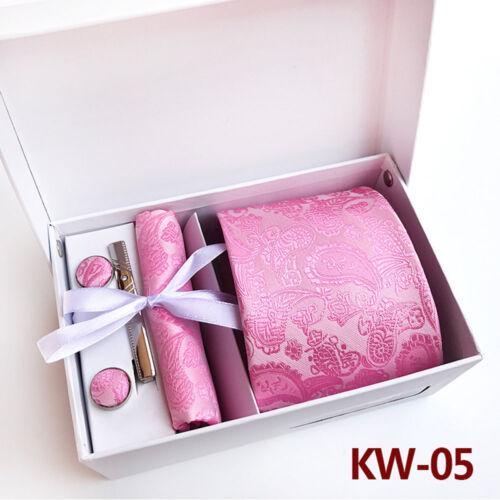 Herren Breit Krawatte Taschentuch Manschettenknöpfe Krawattenklammer Set Mit Box