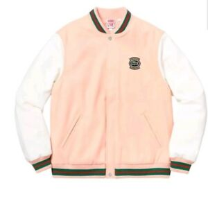 7bfae1c8083d Image is loading Supreme-Lacoste-ss18-Wool-Varsity-Jacket-PEACH-Sz-