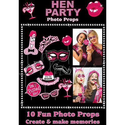 Hen Party 10 Photo Booth Props Girls Night Out  (PHOTO-HP)